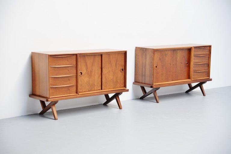 Rudolf Glatzel walnut credenza pair Fristho Holland 1955