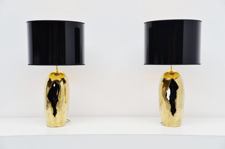 David Marshall bronze brutalist table lamps Spain 1970