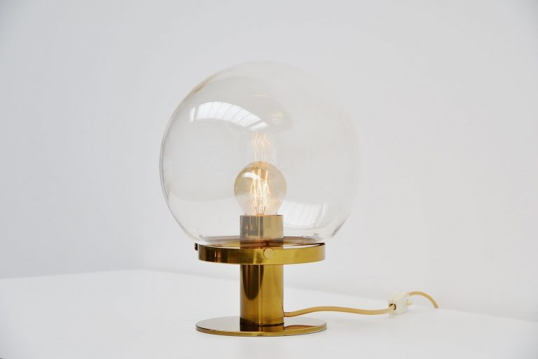 Glashute brass and glass table lamp Germany 1970