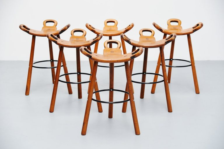 Carl Malmsten attributed brutalist bar stools Sweden 1950