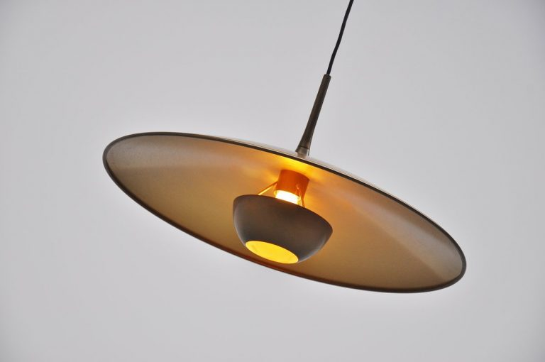 Florian Schulz brass Onos 40 pendant lamp Germany 1970