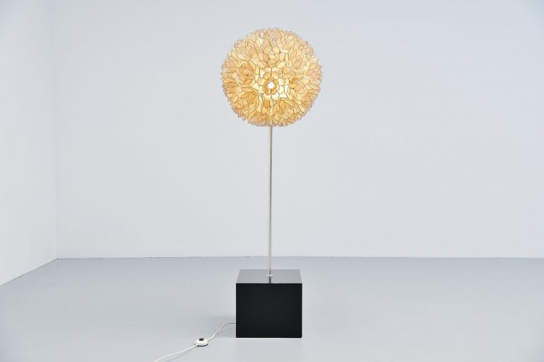 Mother of Pearl floor lamp Belgium 1970