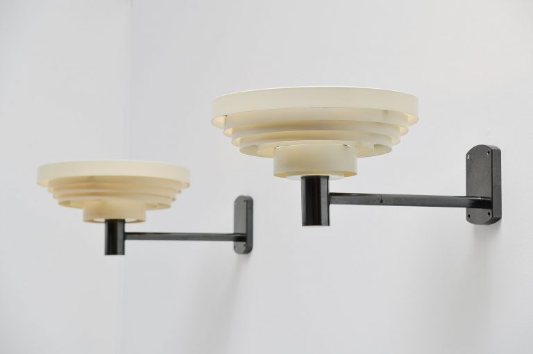 Alvar Aalto attributed pair of wall lamps Denmark 1960