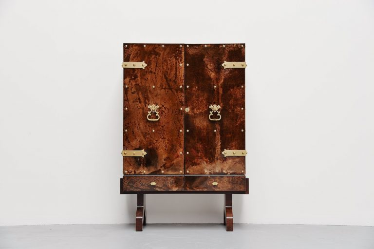 Aldo Tura goatskin dry bar cabinet Italy 1960