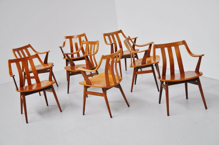 Dutch teak plywood chairs 1960