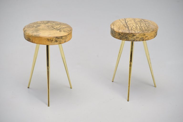 Italian pair of stools with forest print seats 1950