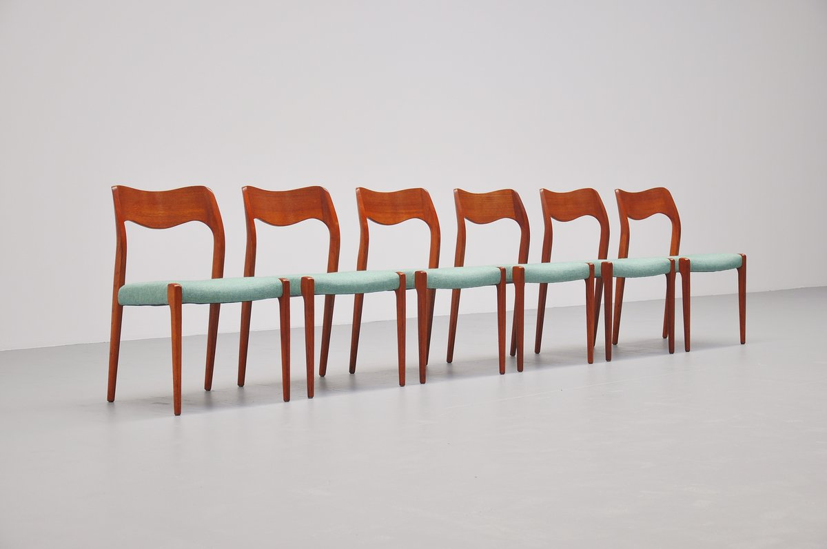 niels moller chairs model 71 in teak denmark 1951 massmoderndesign