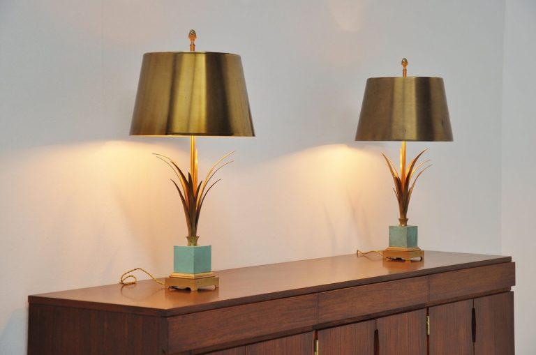 Maison Charles palm motif lamps France 1970