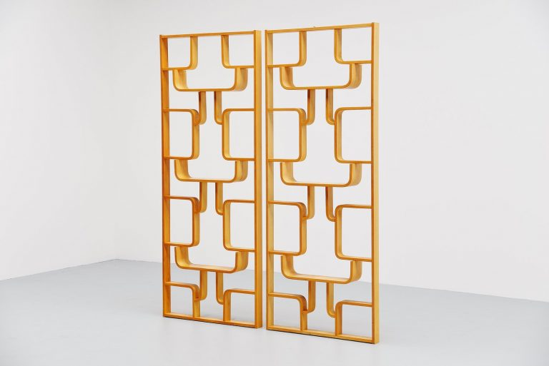 Czech plywood room divider set Drevopodnik Holesov 1960