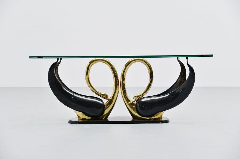 Maison Jansen attributed swan shape coffee table France 1970