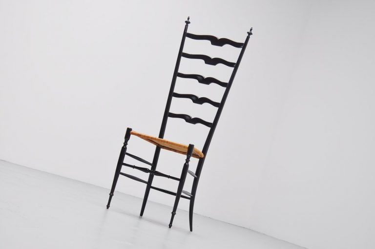 Chiavari high back side chair Italy 1950
