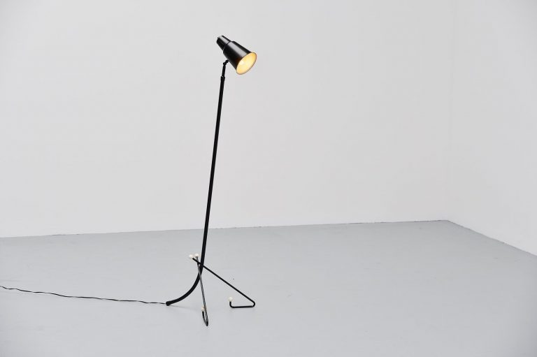 Swedish floor lamp with visor shade 1960