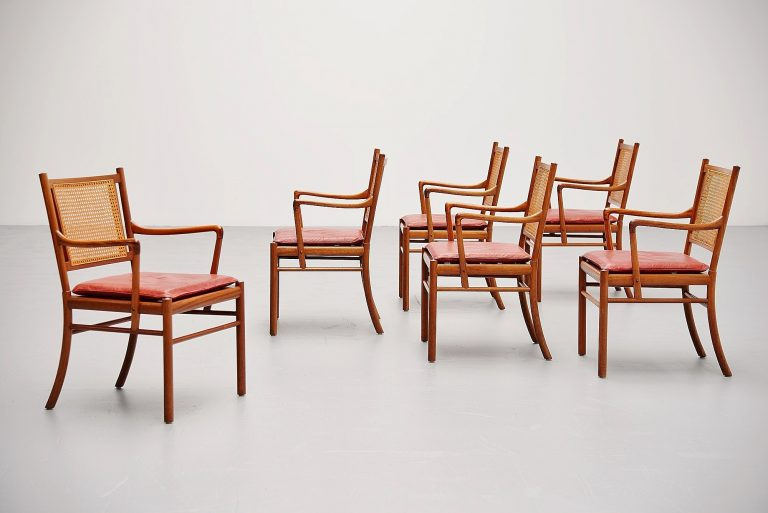 Ole Wanscher Colonial chairs set Poul Jeppesens Denmark 1960