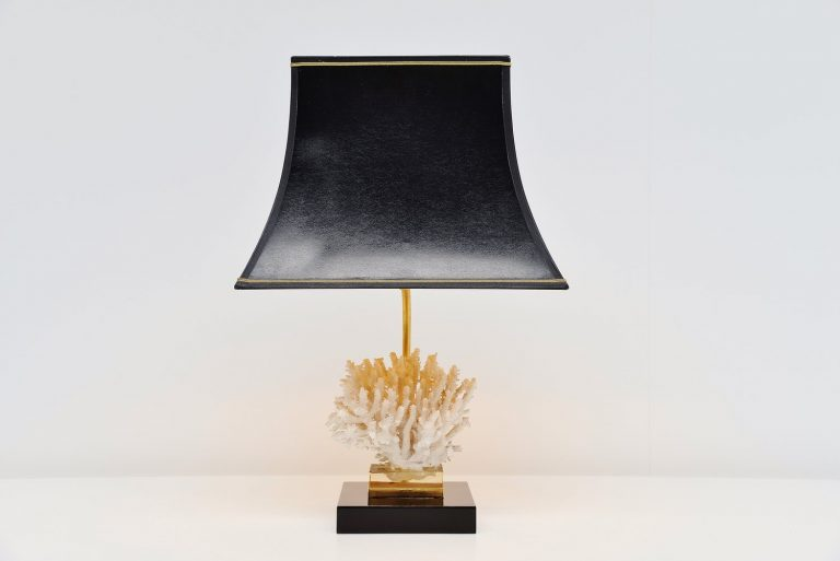 Willy Daro attributed table lamp with Coral Belgium 1970