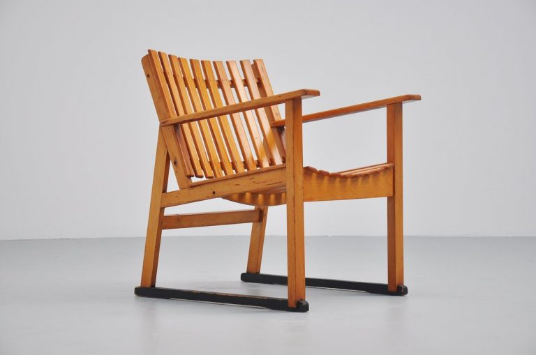 Dutch modernist slat chair Haagse School 1950