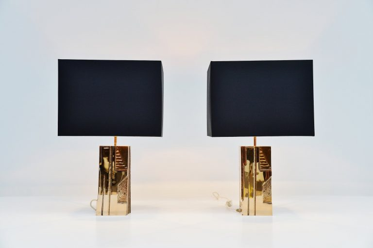 Michel Mangematin bronze table lamps pair France 1970