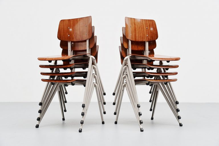 Galvanitas stacking chairs set of 8 Holland 1970
