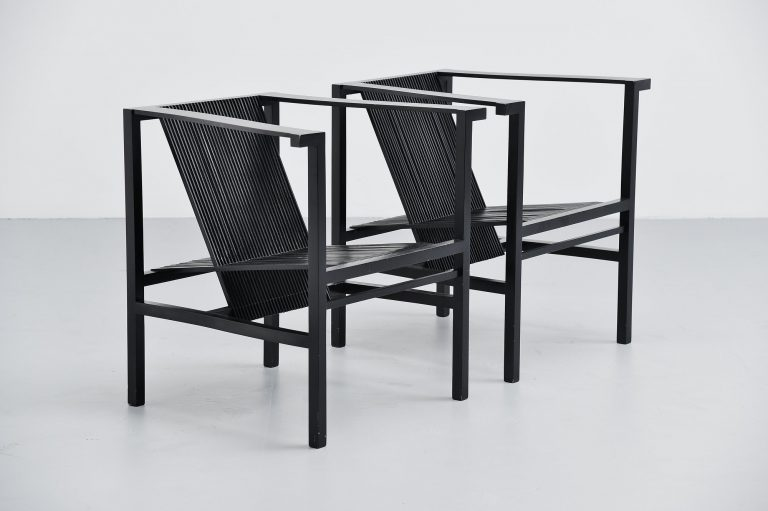 Ruud Jan Kokke high slat chairs pair black Metaform 1984
