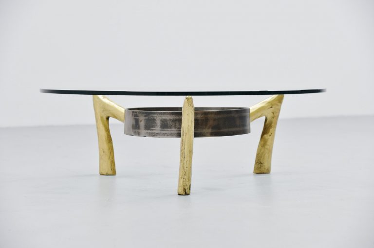 Bronze and iron brutalist coffee table Belgium 1970