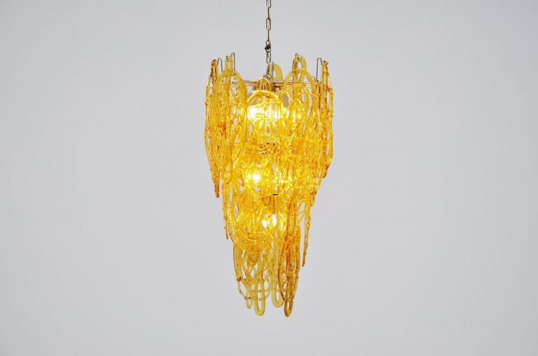 Murano Mazzega chandelier in glass, Italy 1970
