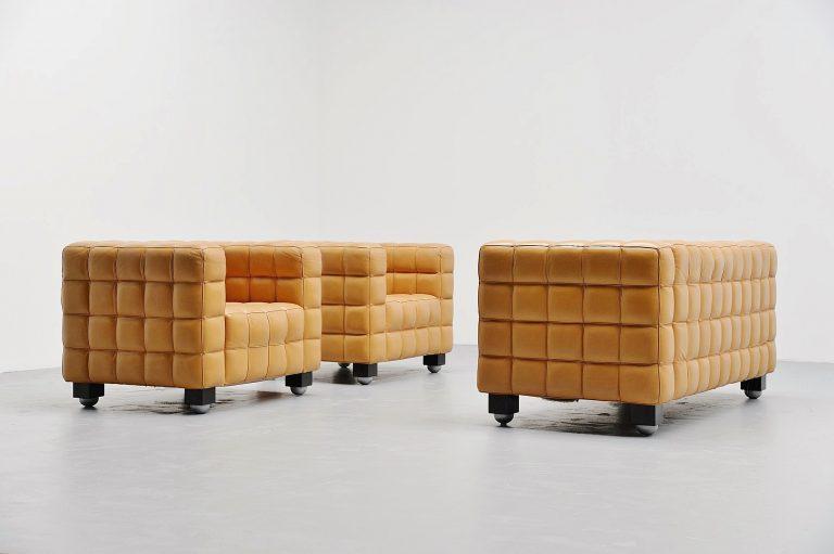 Josef Hoffmann Kubus sofa set by Wittmann Austria 1980
