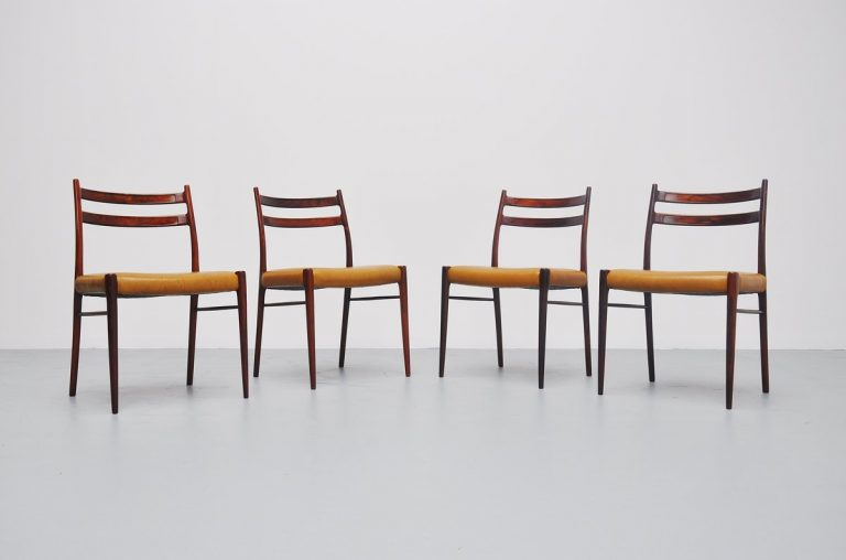Arne Wahl Iversen rosewood dining chairs Denmark 1959