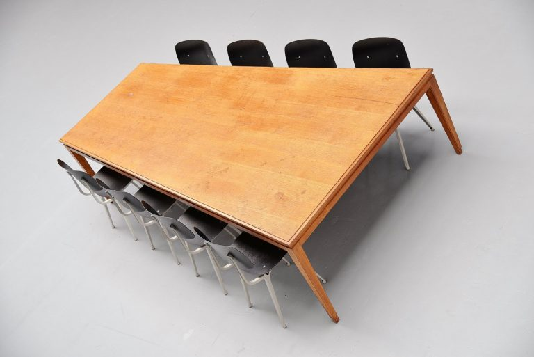 Large trapezium conference table in oak Holland 1920