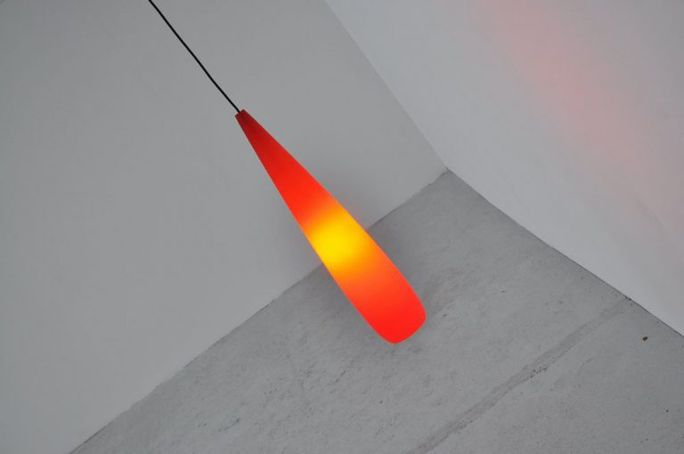 Holmegaard drop lamp red Denmark 1960