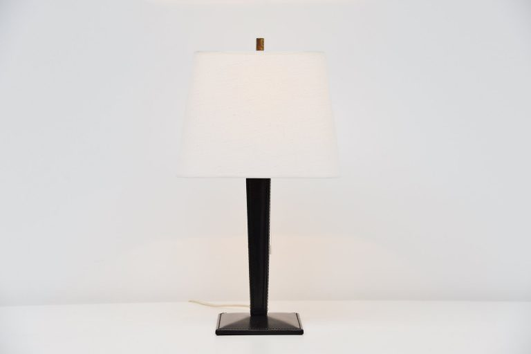 Jacques Adnet style leather table lamp France 1960