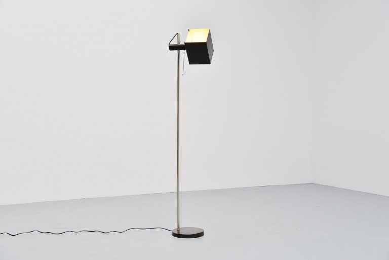 Modernist floor lamp with cubic rotatable shade 1960