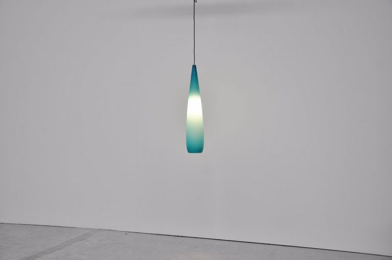 Holmegaard drop lamp blue Denmark 1960