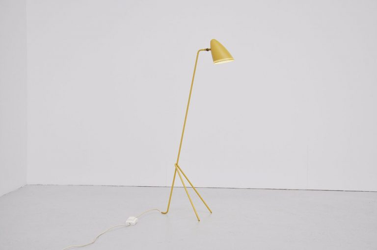 Swedish yellow floor lamp Asea 1950