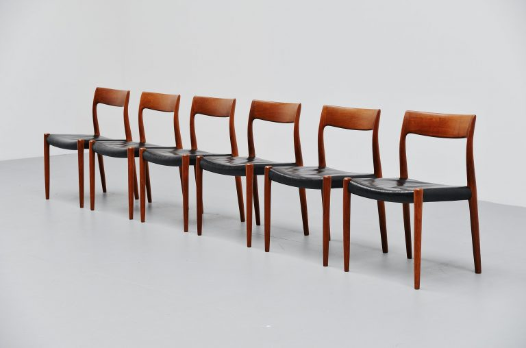 Niels Moller dining chairs Model 77 in teak Denmark 1959