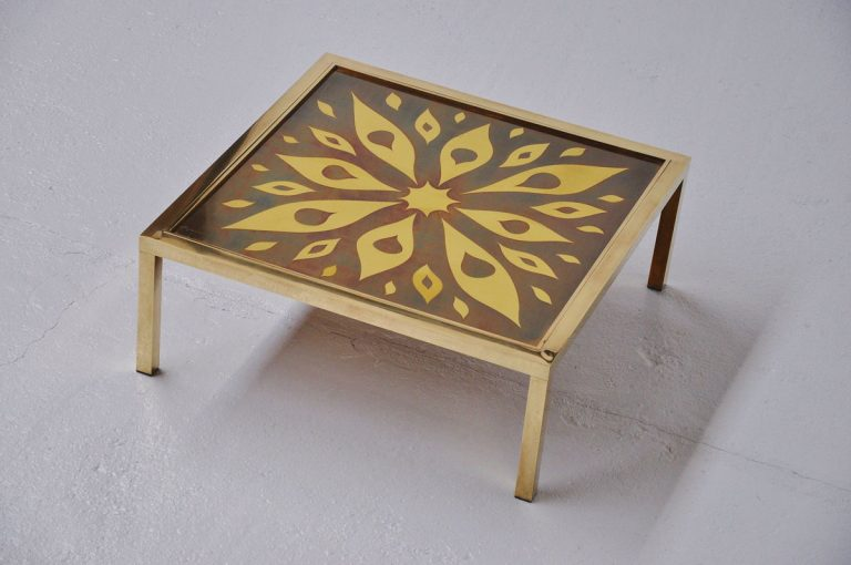 Willy Daro brass coffee table Belgium 1970