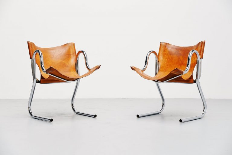 Italian pair of armchairs in cognac leather 1970