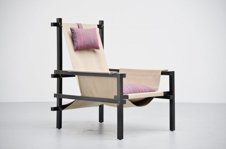 Gerrit Rietveld style slat chair with canvas Holland 1950