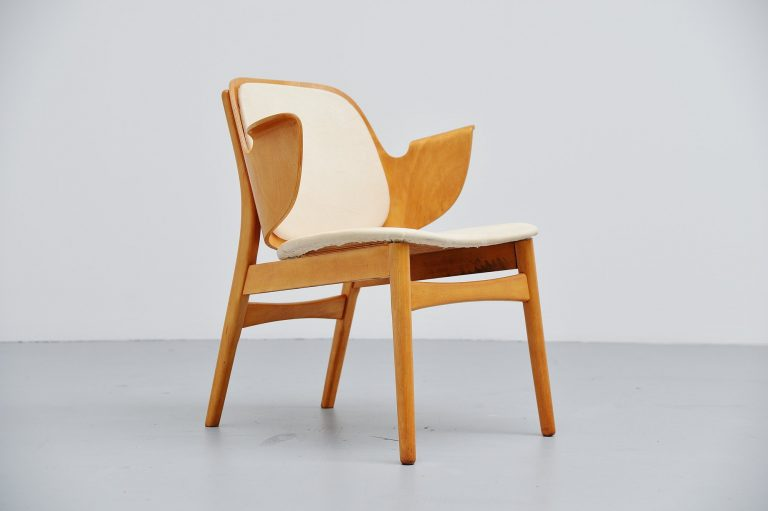 Hans Olsen birch plywood lounge chair Bramin Denmark 1950