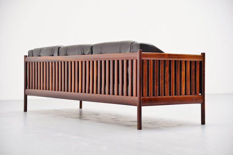 Rosewood leather lounge sofa Denmark 1960