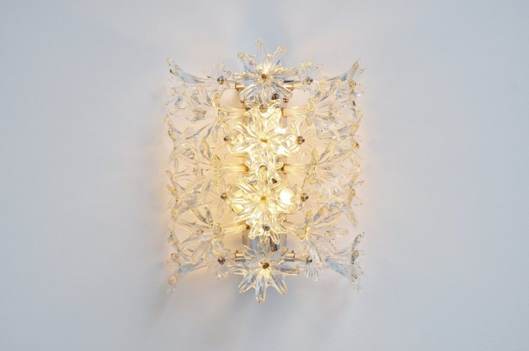 Venini Esprit flower wall lamp clear glass 1960