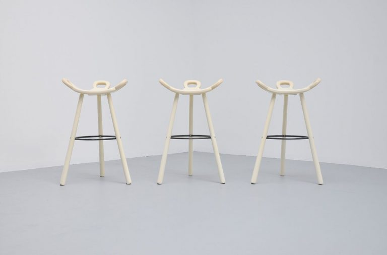 Brutalist Spanish bar stools white lacquered 1970
