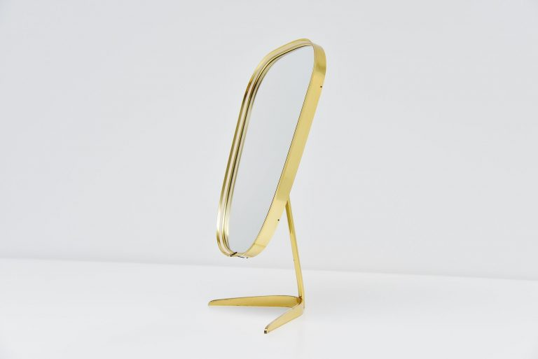 Organic table mirror in brass Italy 1960