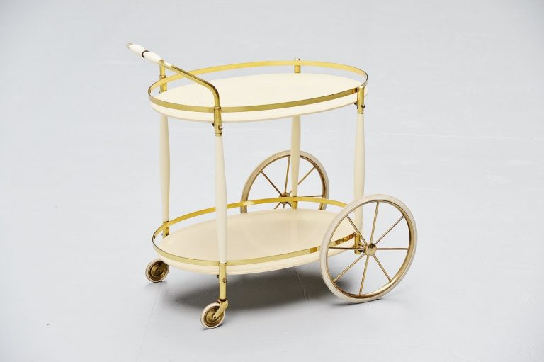 Italian brass and glass tea cart 1950