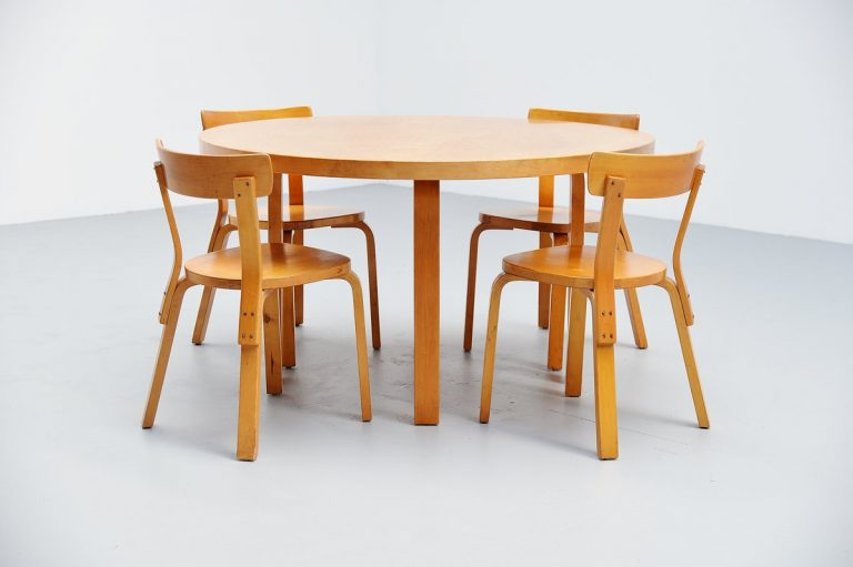 Alvar Aalto dining table set with chairs Artek 1950
