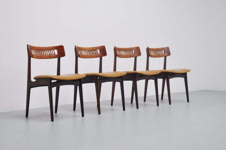 Brazilian dining chairs with cognac leather and cane 1950