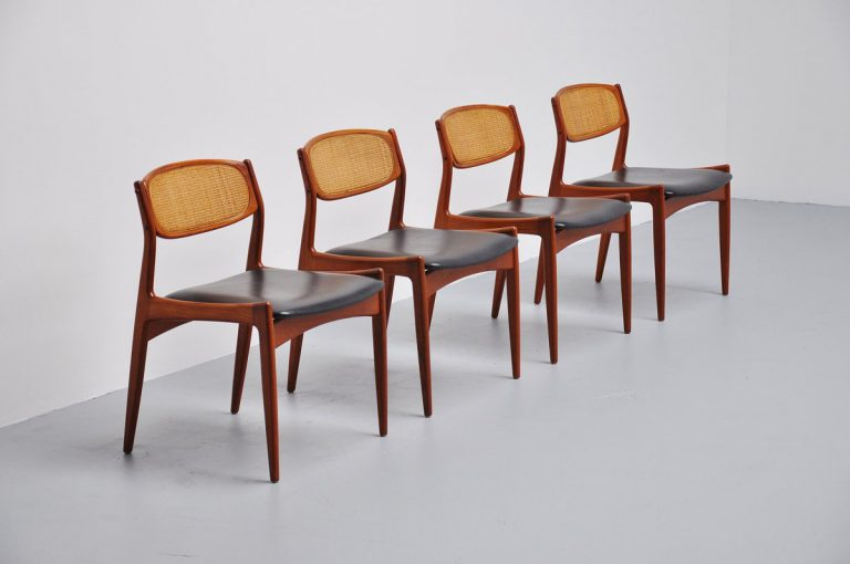 Danish teak dining chair with cane backs 1960