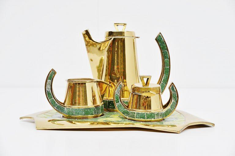 Salvador Teran tea set hand made in Mexico 1952