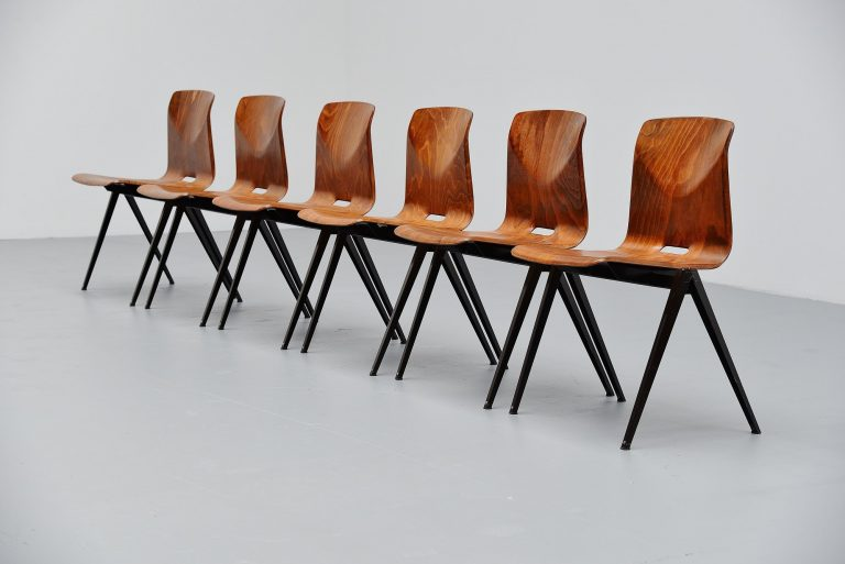 Pagholz S22 stacking chairs caramel Germany 1965