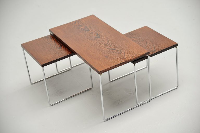 Modernist nesting tables in wenge wood Holland 1960
