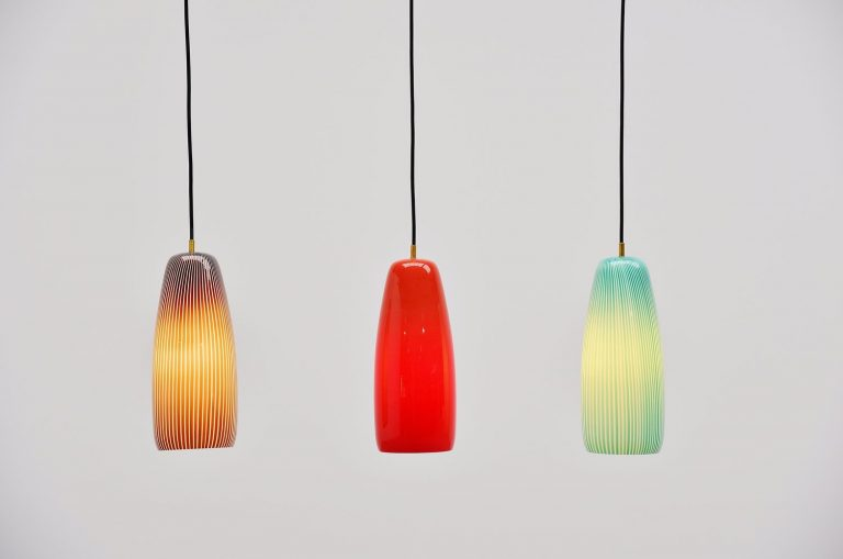 Massimo Vignelli pendant lamp set for Venini Italy 1960