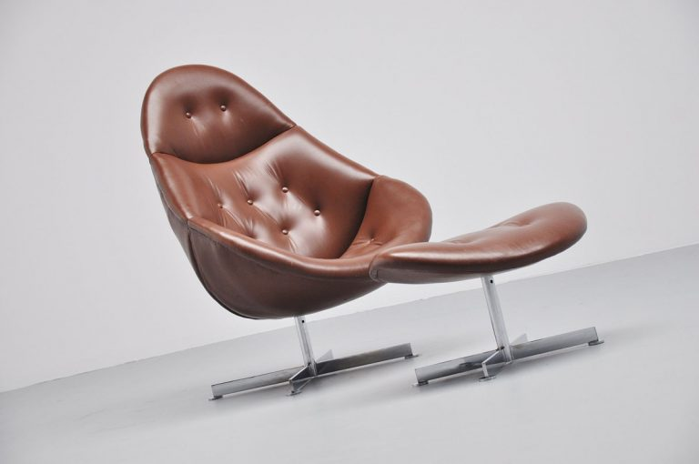 Brown leather lounge chair with footstool 1970